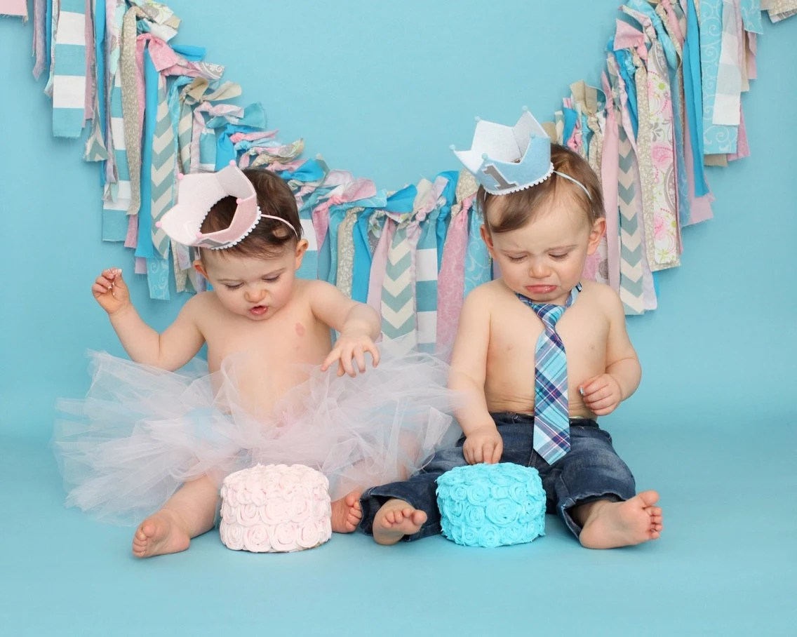 Boys And Girls Twins First Birthday Crown 1st Birthday Pink