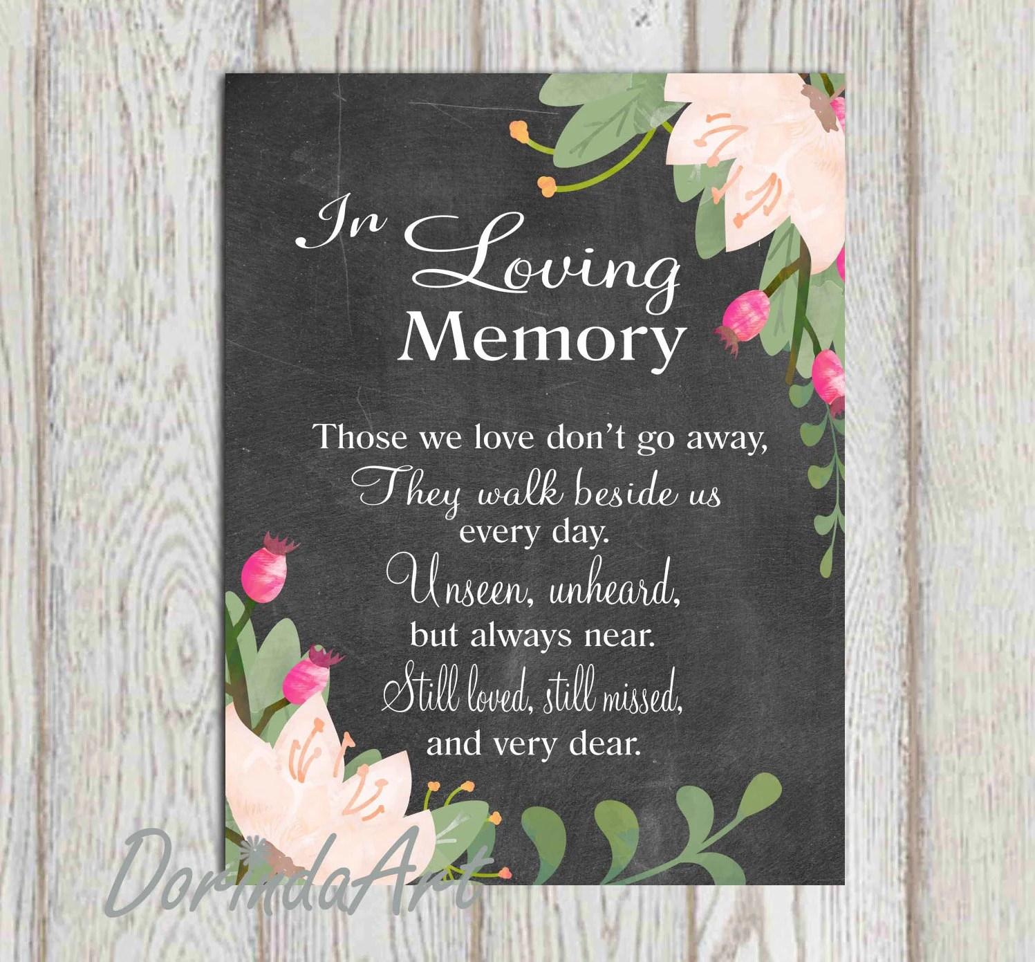 In Loving Memory Printable Wedding Memorial Sign Memorial