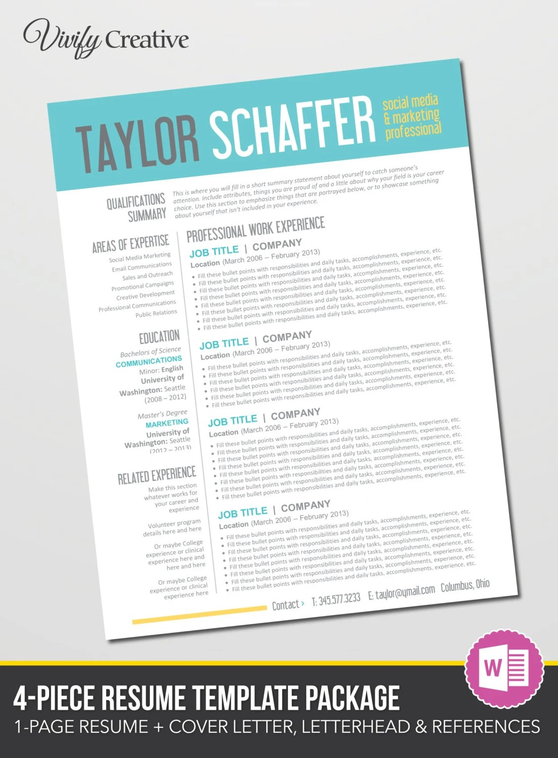 Items similar to Resume Template Editable Download  Cover Letter References  Instant Download