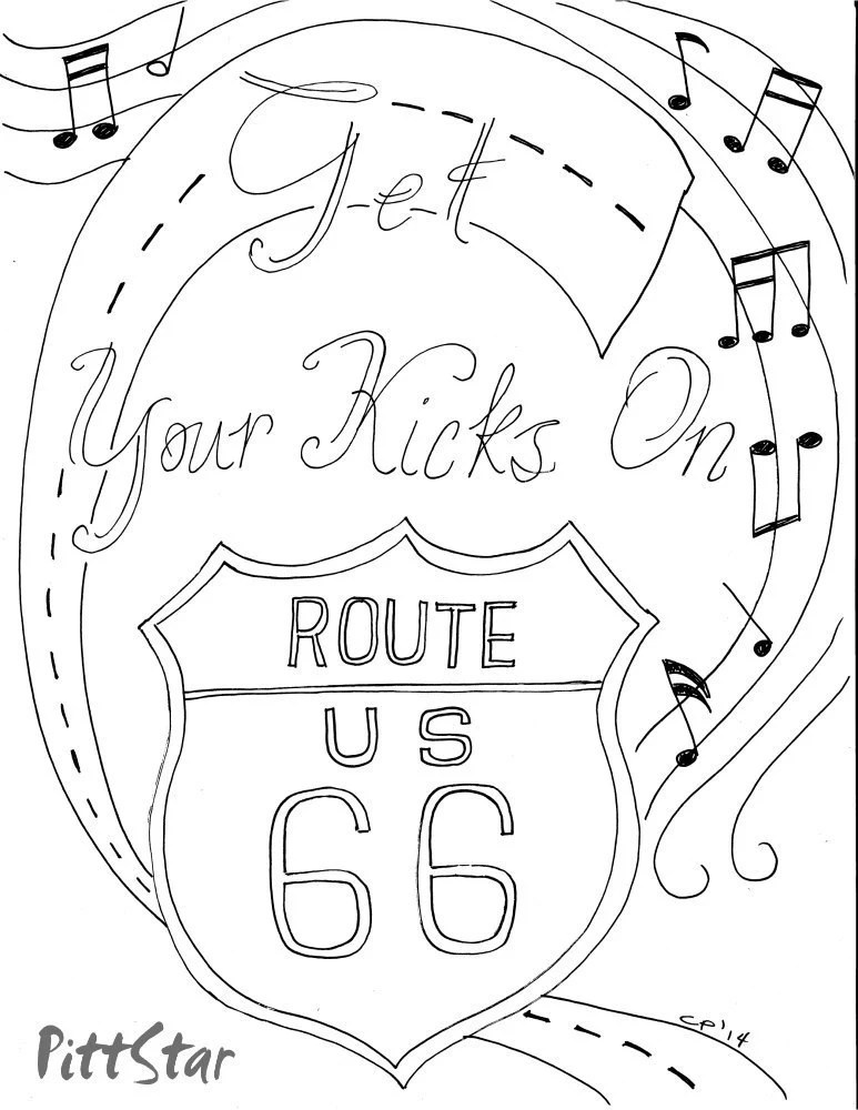 Instant Download Route 66 Printable Adult Coloring Page