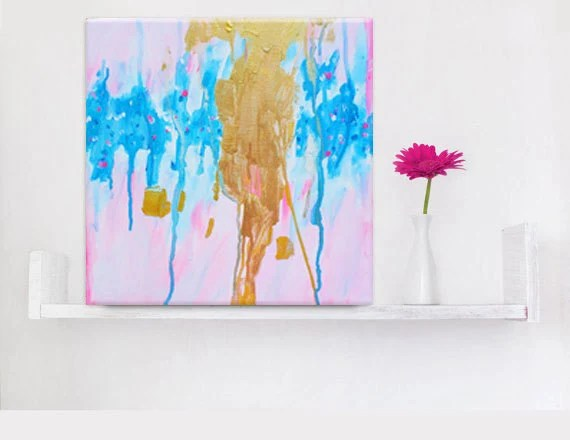 Abstract Painting Pink Gold 12x12 Small Abstract Canvas Art
