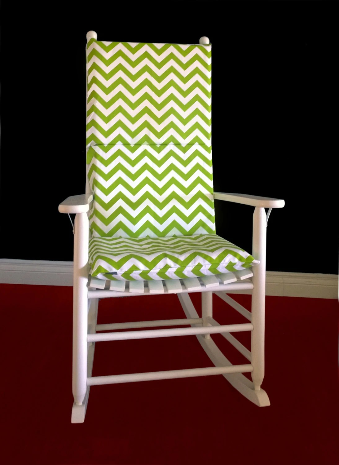Green Chair Covers Lime Green Chevron Adjustable Rocking Chair Cover