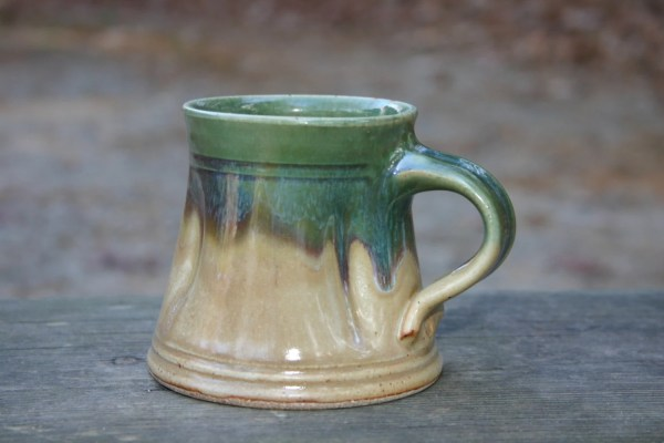 Wide Mug Coffee Handmade Green