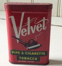 Velvet Pipe & Cigarette Tobacco Tin/Tobacciana/Antique Tobacco