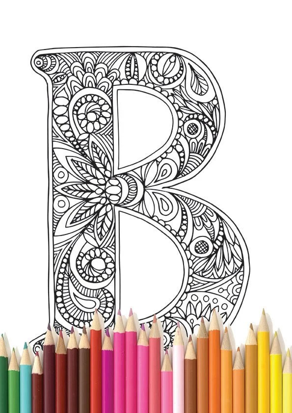 adult colouring page alphabet letter b
