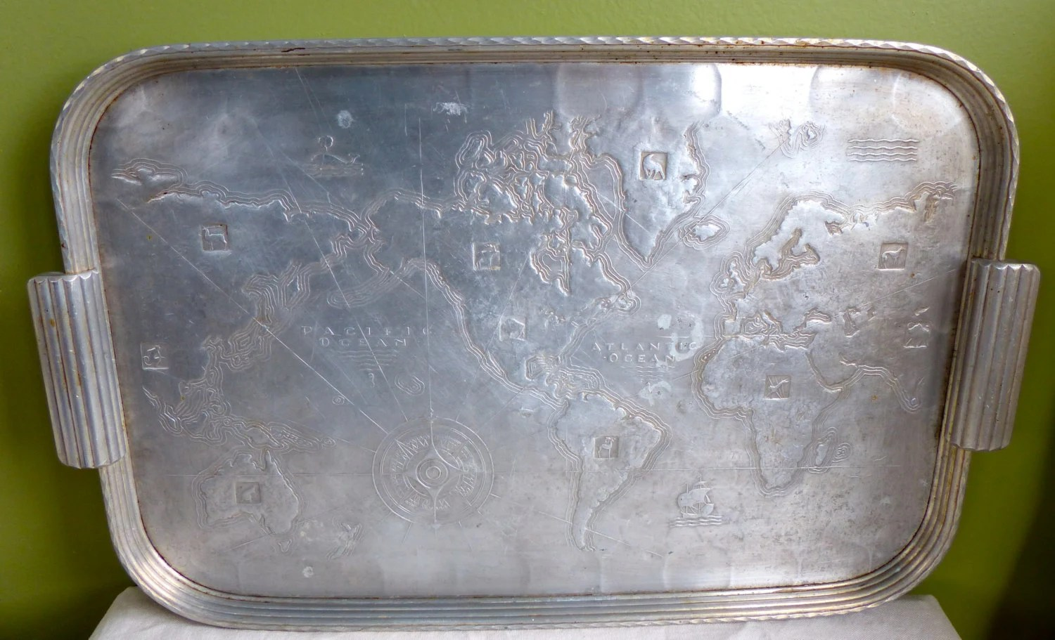 Deco 1930 S Arthur Armour Hammered Aluminum Tray Map Of