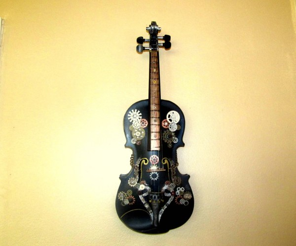 Industrial Steampunk Wall Art Hanging Violin Decor