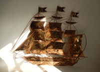 Vintage c. 1978 George Gold GG Metal Copper Colored Sailing