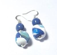 Kazuri Bead Earrings Cornflower White and Blue Ceramic