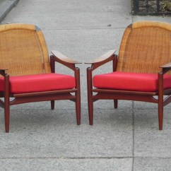 Floating High Chair Wine Barrel Rocking Plans On Sale Pair Danish Teak Caned Back Chairs By