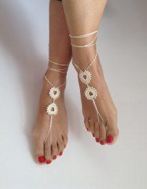 Ivory Barefoot Sandals Wedding Hearted Bikini Women
