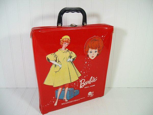Vintage Barbie Doll Case Retro Red Patent Leather Vinyl