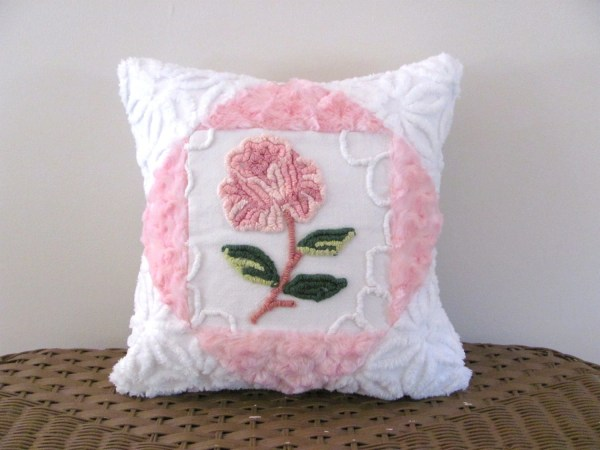 Pink Chenille Pillow Cover Rose Cottage Chic Shabby Style