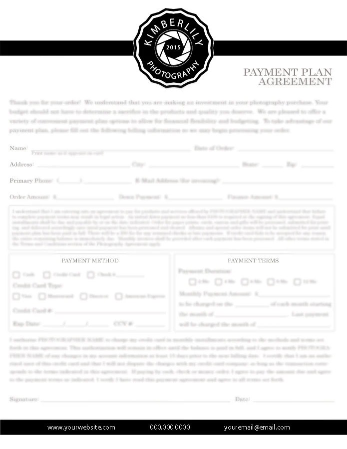 Payment Plan Agreement Form for Photographers Credit