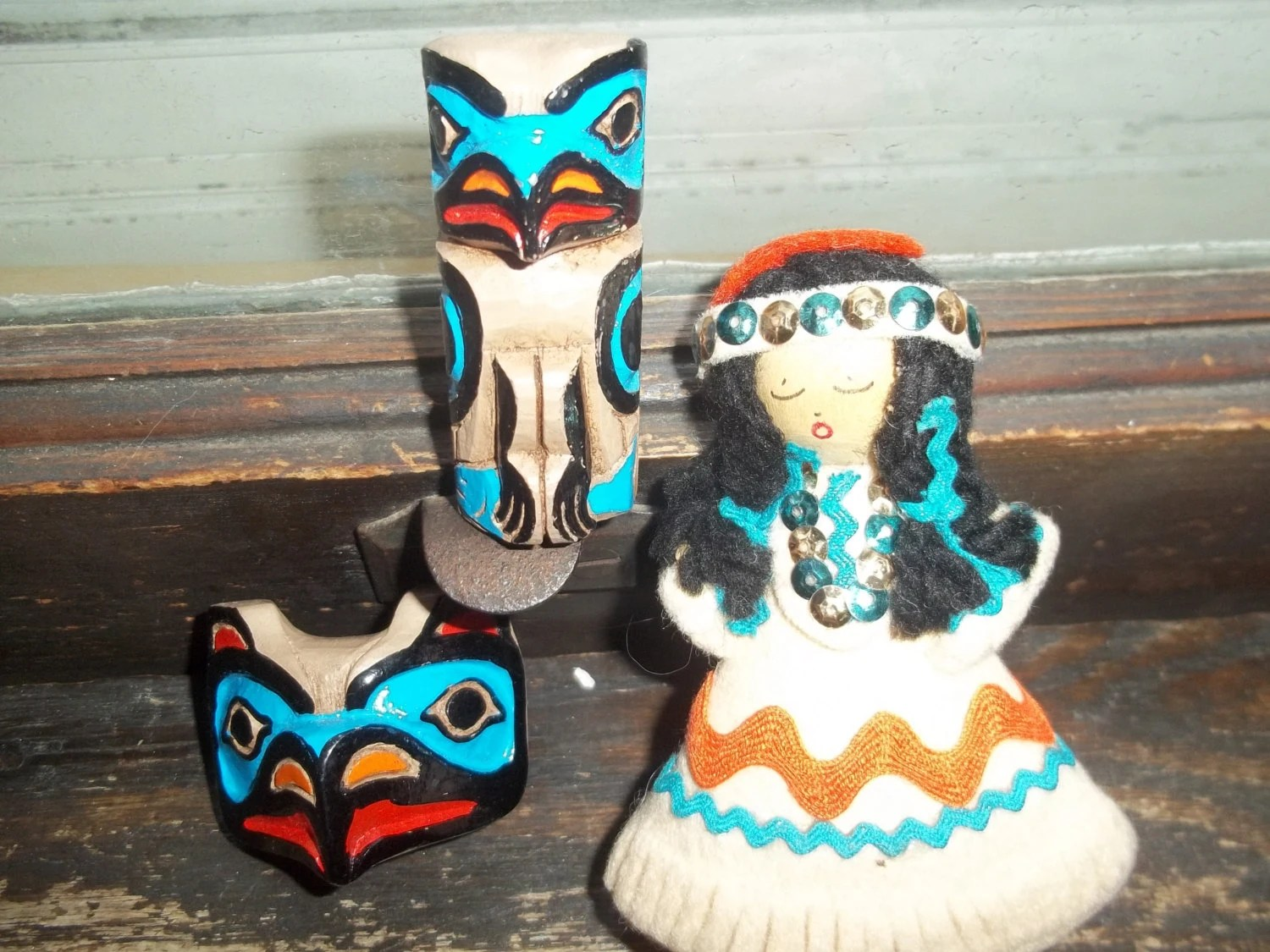 Native American Puppet Doll And 2 Magnets By Fosterffoot