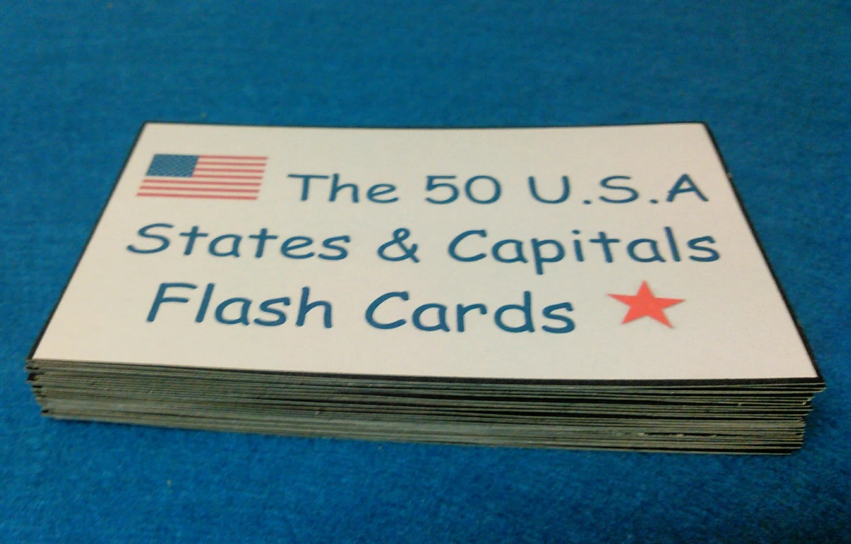 Usa States Amp Capitals Flash Cards Laminated State Capital
