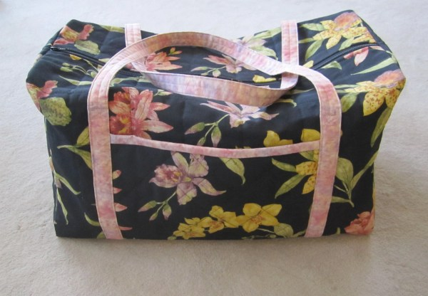 Large Quilted Duffle Bag Orchid Blossoms Weekend