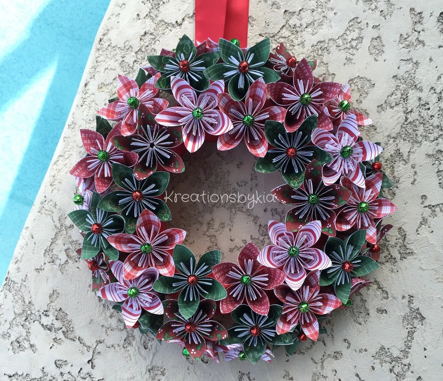 christmas origami flower diagram white rodgers zone a flow water valve wiring paper wreath holiday