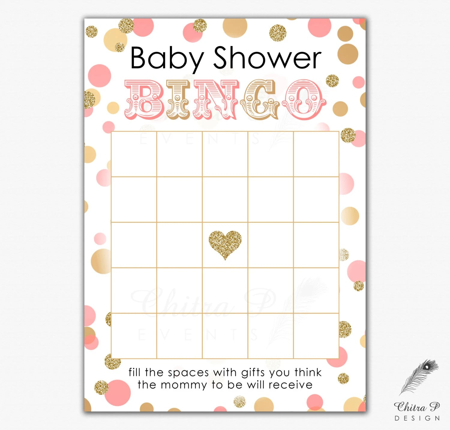 Pink Amp Gold Baby Shower Bingo Card Printed Or Printable