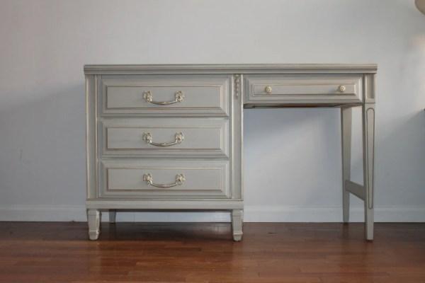 Sold French Light Grey Vanity Desk Salvagechicstudio