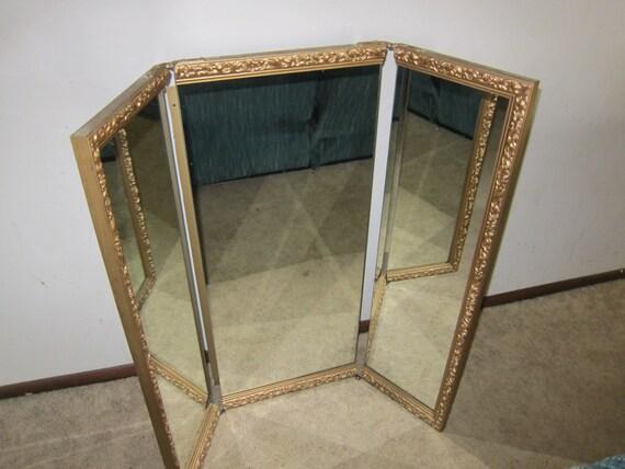 Vintage Tri Fold Vanity Mirror Large Ornate Frame Gold Trim