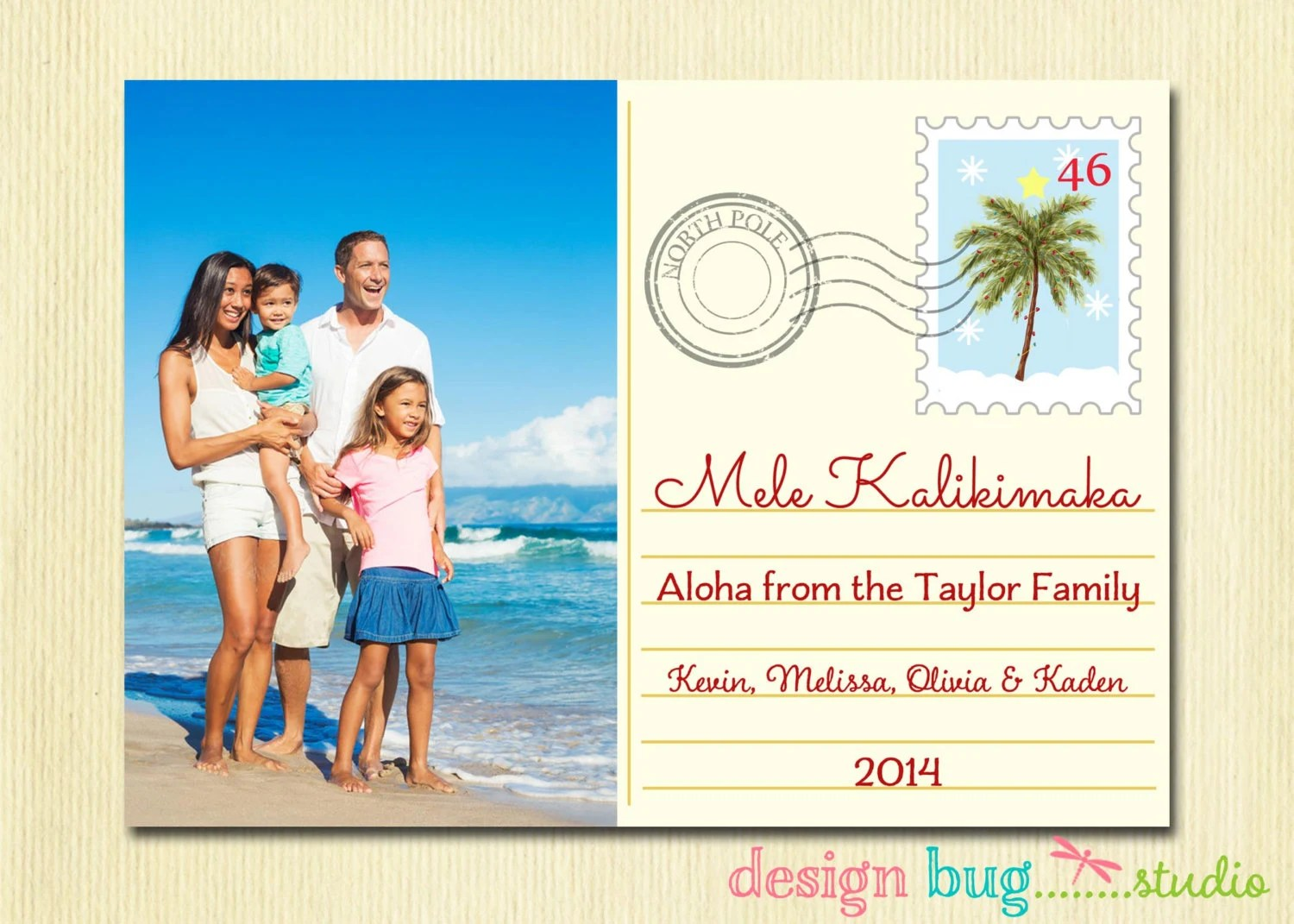 Hawaiian Christmas Card Mele Kalikimaka Family Holiday
