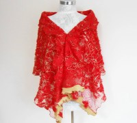 Red Shawl Red Lace Shawl Red Christmas Scarves Embroidered