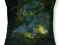 Blue Green Nebula Decorative Pillow Soft by BoundbyEmilyMagone