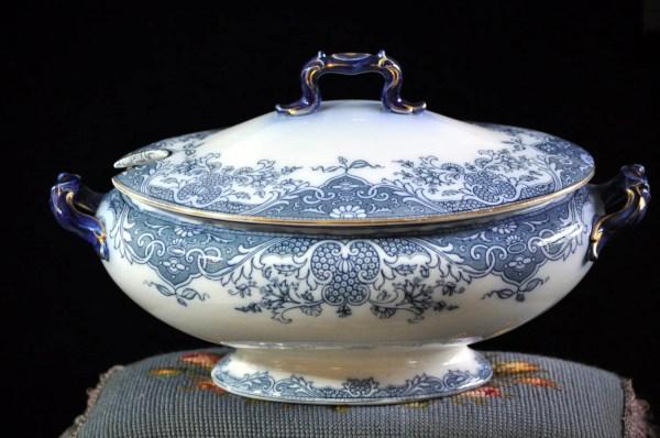 Flow Blue Soup Tureen Royal Doulton Antique English China