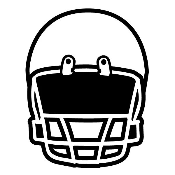 Football helmet front view vector