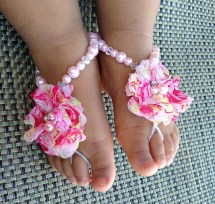 Baby Barefoot Sandals Flower Girl Pink
