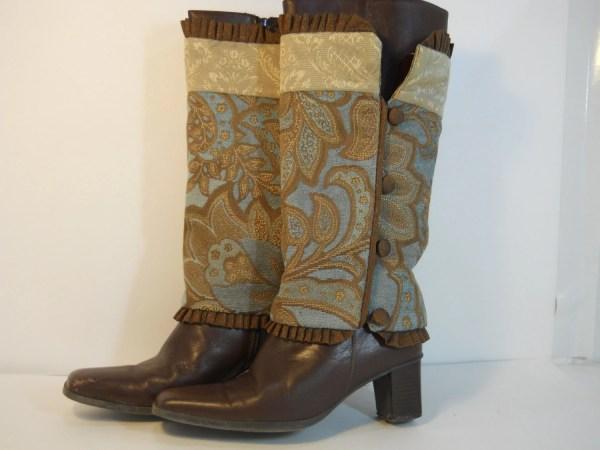 Turquoise Brown Gold Rust Fabric Boot Covers Urhomeandu