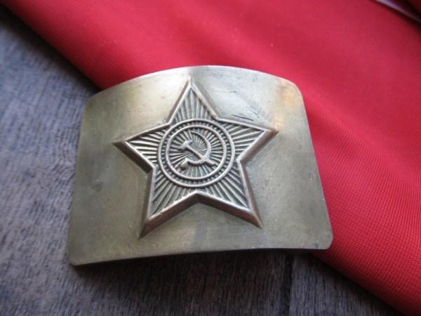 Vintage Soviet Army Military Buckle Belt Soldier