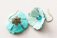 Teal Blue Leather Flower Earrings with by MusingTreeStudios