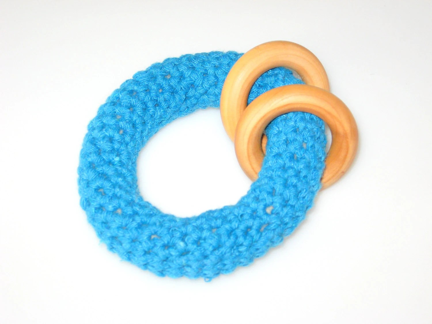 Crochet Ring Teether Teething Toy Baby Toy Wooden