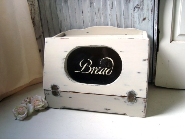 Vintage Wooden Bread Box Shabby Chic Cream Distressed