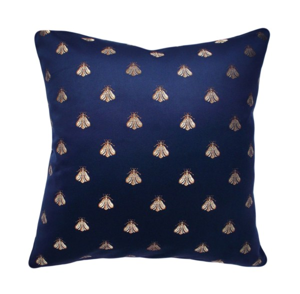 Navy Blue and Gold Throw Pillows