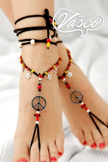 Hippie Barefoot Sandal. Black Gypsy Shoes