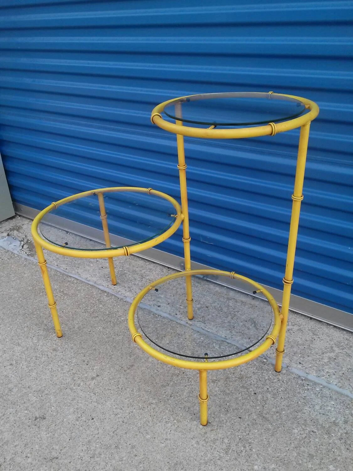 ... three tier table end hall corner glass shelves yellow | Haute Juice
