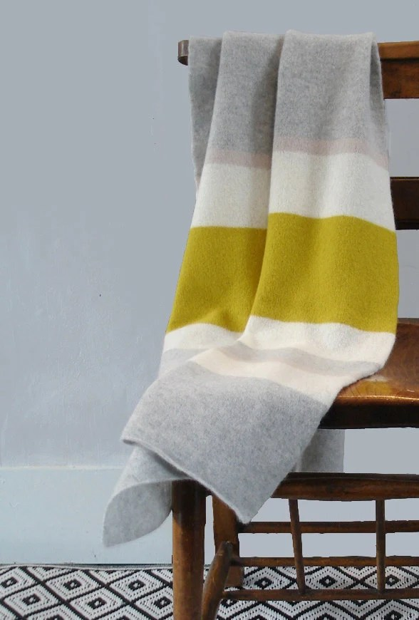 Throw blanket knitted in lambswool yellow  grey  gray
