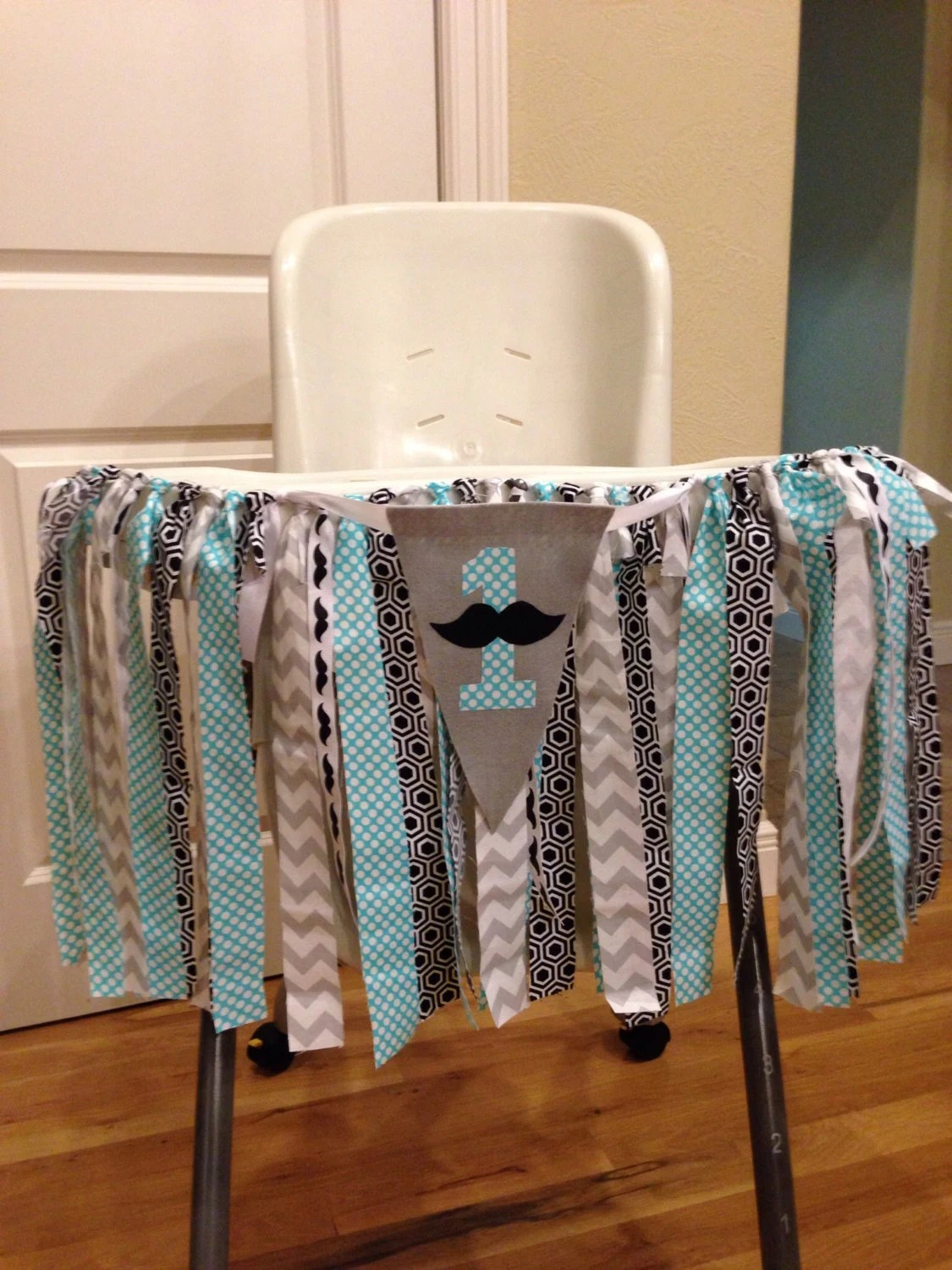 high chair decorations 1st birthday boy gothic chairs uk mustache banner first