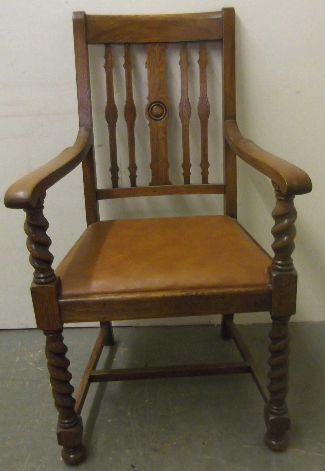 solid oak pressed back chairs black velvet chair nz carver with barley twist features and