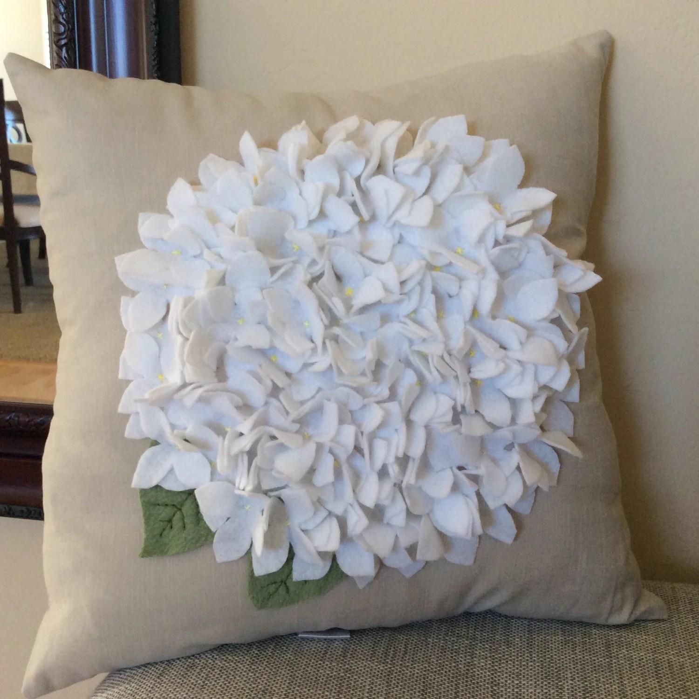 White Felt Hydrangea Pillow Cover Spring Flower pillow