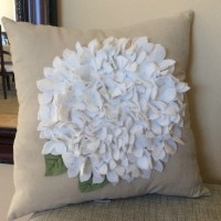 White Felt Hydrangea Pillow Cover Spring Flower pillow