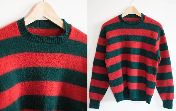 Vintage Freddy Krueger Sweater Dark Green And Red Striped Wool