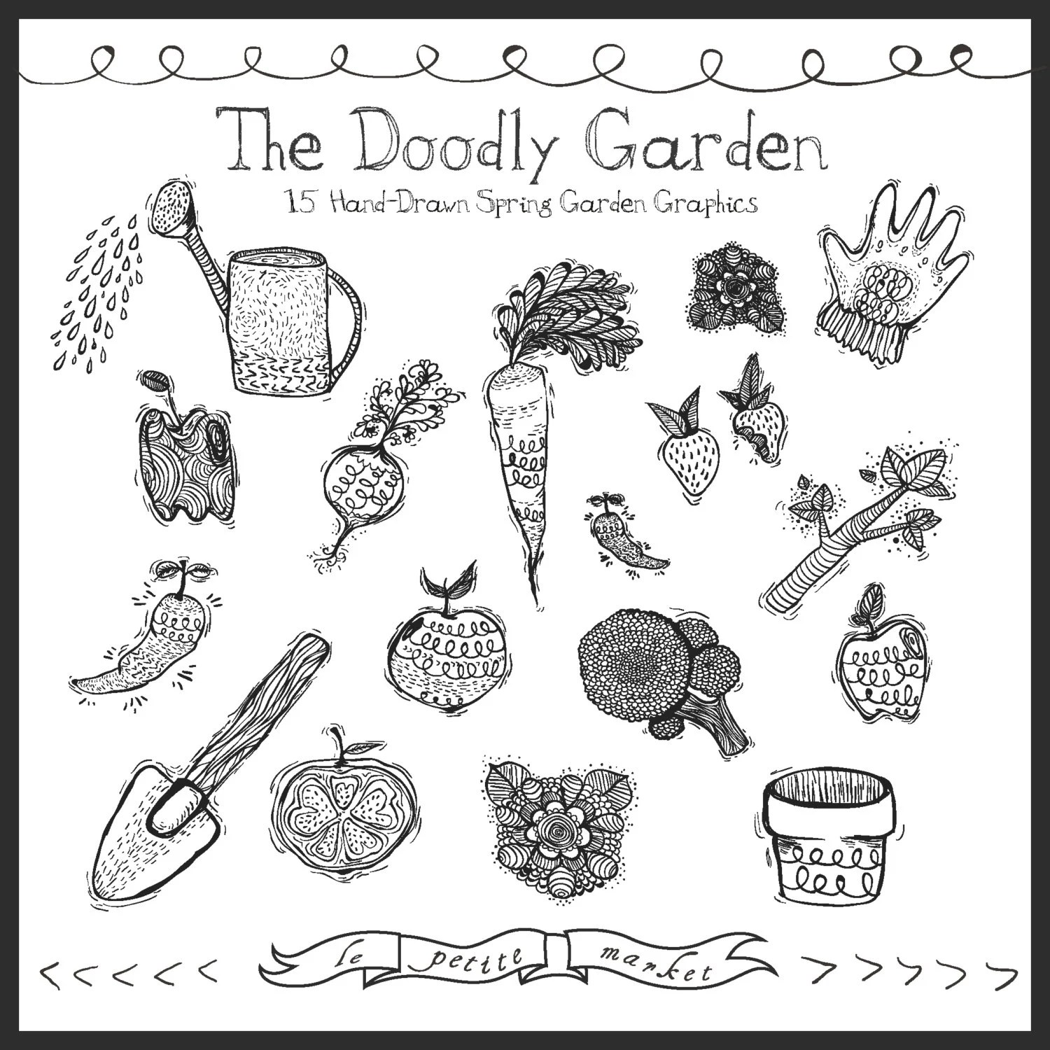 Hand Drawn Digital Garden Clipart Doodle Garden Illustration
