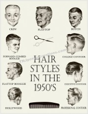 hair styles in 1950s poster