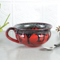 Ceramic Red Soup bowl Kitchen serving Holiday Entertaining