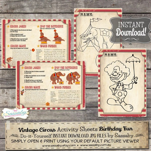 Vintage Circus Activity & Coloring Sheets Placemats Instant