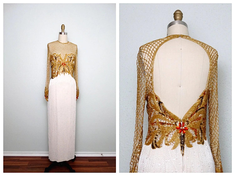 STUNNING Gold Beaded Wedding Dress By Naeem Khan And Lillie
